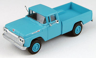 Classic Metal Works F-100 4x4 Pickup Turquoise -- HO Scale Model Railroad Vehicle -- #30451