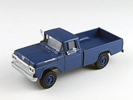 Classic-Metal-Works F-100 4x4 Pickup Blue HO Scale Model Railroad Vehicle #30473
