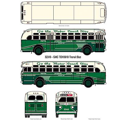 Classic Metal Works GMC TD 3610 Transit Bus - Assembled - Mini Metals(R) -- Fifth Ave. Coach Company (2-Tone Green, cream, Sign- 72nd St. Cross Town) - HO-Scale