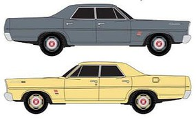 Classic-Metal-Works 67 Ford Sedans 2 pack Yellow and Gray N Scale Model Railroad Vehicle #50354