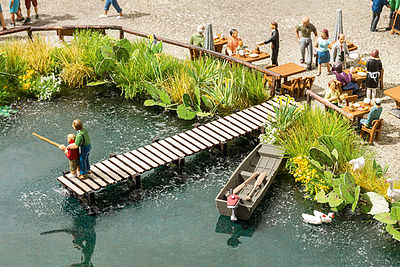 Noch GMBH & Co. Small Fishing Pier Kit -- HO Scale Model Railroad Building Accessory -- #14223