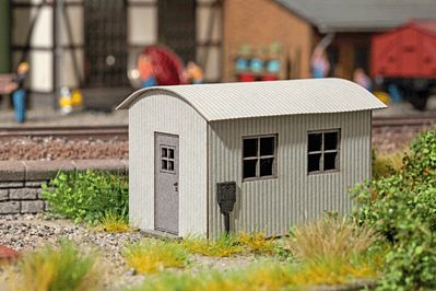Noch GMBH & Co. Corrugated Metal Shed w/Arched Roof Kit -- HO Scale Model Railroad Accessory -- #14354