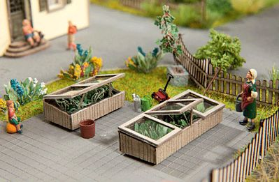 Noch GMBH & Co. Cold Frames (Covered Garden Beds) Kit pkg(2) -- HO Scale Model Railroad Accessory -- #14358