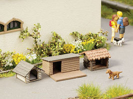 Noch Kennels (3) HO Scale Model Railroad Accessory #14364