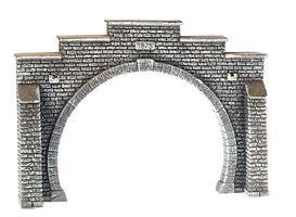 Noch Double Tunnel Portal (Gray Brick) - N Scale Model Railroad Accessory #34852