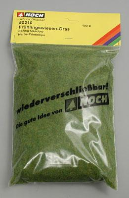 Noch GMBH & Co. Spring Green Static Grass (100g) -- Model Railroad Grass Earth -- #50210
