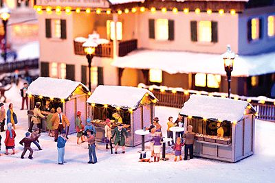Noch GMBH & Co. Christmas Market Stall Kit -- HO Scale Model Building -- #66412