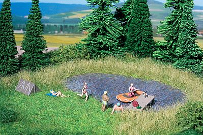 Noch GMBH & Co. Natur+ Bathing Lake and Meadow -- HO Scale Model Railroad Scenery -- #7442