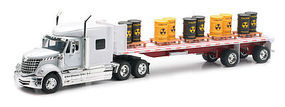 New-Ray Intl Lonestar w/Flatbed Trailer Toxic Barrels Color Will Vary Diecast 1/32 scale #10193