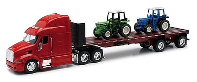 New Ray Toys Peterbilt 387 Flatbed Trailer & Farm Tractors Color Varies -- Diecast Model -- 1/32 scale -- #10283