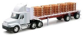 New-Ray Freightliner Century Class w/Flatbed Trailer & Pallet Load Diecast 1/32 scale #10593