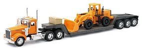 New-Ray 1979 Kenworth W900 w/Lowboy Trailer & Front End Loader Diecast Model 1/32 scale #10623