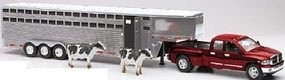 New-Ray Dodge Ram 3500 Extended Cab Pickup w/Livestock Trailer Diecast 1/32 scale #10923