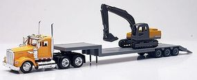 New-Ray Kenworth W900 w/Lowboy Trailer & Excavator Diecast Model Truck 1/43 Scale #15293