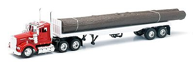 New Ray Toys Kenworth W900 w/Flatbed Trailer & Log Load -- Diecast Model Truck -- 1/43 Scale -- #15583