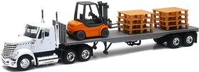 New-Ray 1/43 Intl Lonestar Flatbed Trailer w/Forklift (Die Cast)