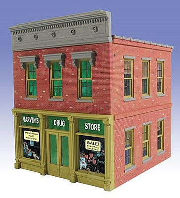 O-Gauge Railroading Marvin's Drug Store 2-Story Building Kit -- O Scale Model Railroad Building -- #822