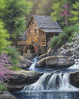 Plaid Spring Mill by River Paint by Number (16x20)