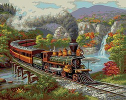 Plaid Fall River Train Paint by Number (20x16)