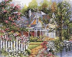 Plaid Victorian Cottage (16x20) Paint By Number Kit #21676