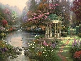 Plaid Thomas Kinkade The Garden of Prayer (Gazebo/Stream) (20x16) Paint By Number Kit #21787