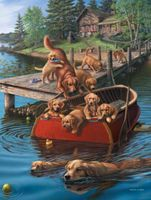 Plaid Dog Paddle (Dogs on the Dock)(16x20) Paint By Number Kit #22045