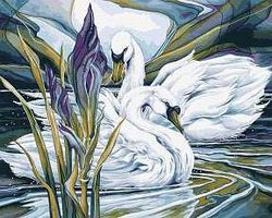 Plaid Everlasting Love (Swans)(16x20) Paint By Number Kit #22062
