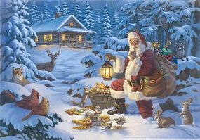 Plaid Woodland Santa (Santa Feeding Wildlife Christmas) Canvas Paint By Number Kit #22065
