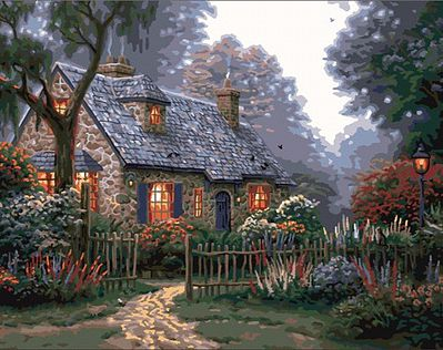 Plaid Paint By Numbers Thomas Kinkade Foxglove Cottage Canvas with Lights (11''x14'') -- Paint By Number Kit -- #22066