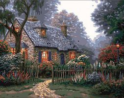 Plaid Thomas Kinkade Foxglove Cottage Canvas w/Lights (11x14) Paint By Number Kit #22066
