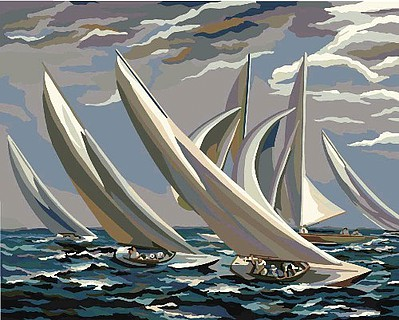 Plaid Paint By Numbers Smithsonian American Art Racing Sailboats (16''x20'') -- Paint By Number Kit -- #22084