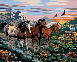 Plaid High Country Run (Horses) Paint by Number (20x16)