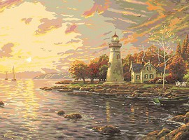 Plaid Thomas Kinkade- Serenity Cove Lighthouse Paint by Number (20x16)