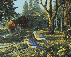 Plaid Sleepy Hollow Birds (Covered Bridge/Country Scene) Paint by Number (20x16)