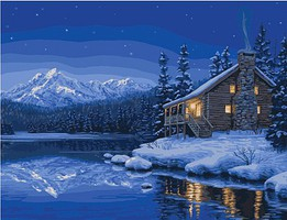 Plaid Quiet Camp (Cabin, Lake, Mountain, Night/Snow Scene) Paint by Number (20X16)