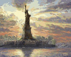 Plaid Thomas Kinkade- Dedicated to Liberty (Statue of Liberty, NY) Paint by Number (20x16)