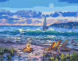 Plaid Beach Moonlit Night w/Fire Canvas Paint by Number w/Lights (11x14)