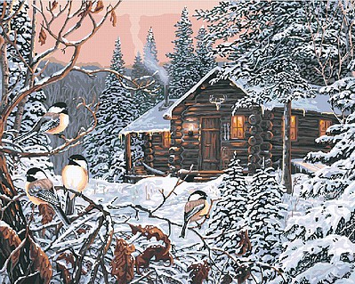 Plaid Paint By Numbers Enchanted Woods in Winter (Cabin Scene) Paint by Number (20''x16'')