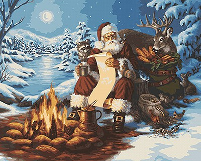 Plaid Paint By Numbers Santa's List (Sitting at Campfire/Animals Christmas/Snow Scene) -- Paint By Number Kit -- #59774
