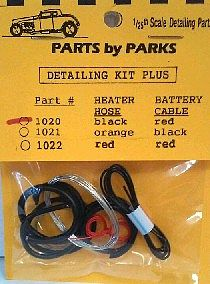 Parts By Parks Radiator Hose, Black Heater Hose, Red Battery Cable w/ Tinned Copper Wire -- Engine Detail -- #1020
