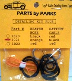 Parts By Parks Radiator and Orange Heater Hoses, Black Battery Cable w/Tinned Copper Wire -- Engine Detail -- #1021