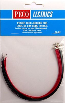 Peco N Code 55 & Code 80 Power Feed Rail Joiners (4prs) -- Model Train Accessory -- #pl82