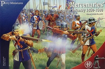 Perry Miniatures Mercenaries European Infantry 1450-1500 (40) -- Plastic Model Military Figure -- 28mm -- #302