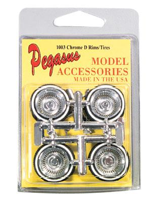 Pegasus Hobbies Chrome Rims & Tires Chrome (4) -- Plastic Model Tire Wheel -- 1/24 Scale -- #1003