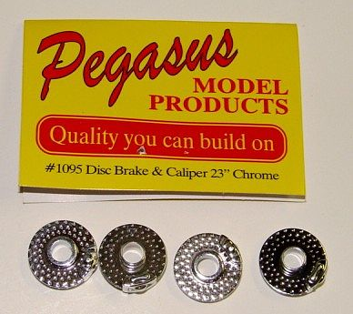 Pegasus Hobbies Chrome 23'' Disc Brakes w/Molded Caliper (4) -- Plastic Model Accessory -- 1/24 Scale -- #1095