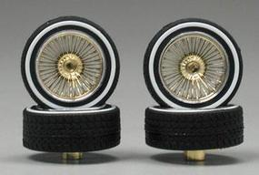 Pegasus Triple Gold DZs w/Whitewall (4) Plastic Model Tire Wheel 1/24 Scale #1117