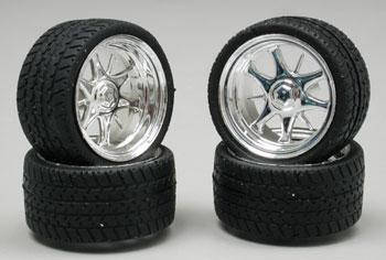 Pegasus Hobbies Daggars Chrome Rim/Tires (4) -- Plastic Model Tire Wheel -- 1/24 Scale -- #1226