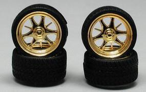 Pegasus Daggars Gold Rim/Tires (4) Plastic Model Tire Wheel 1/24 Scale #1228