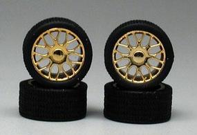 Pegasus Beemers Gold Rims w/Tires (4) Plastic Model Tire Wheel 1/24 Scale #1236