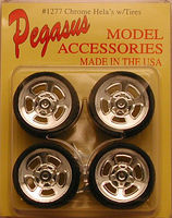 Pegasus Hellas 19 Chrome Rims w/Tires (4) Plastic Model Tire Wheel 1/24 Scale #1277